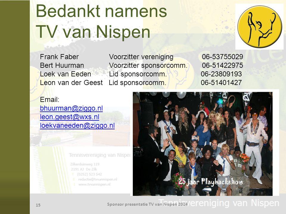 Bedankt namens TV van Nispen
