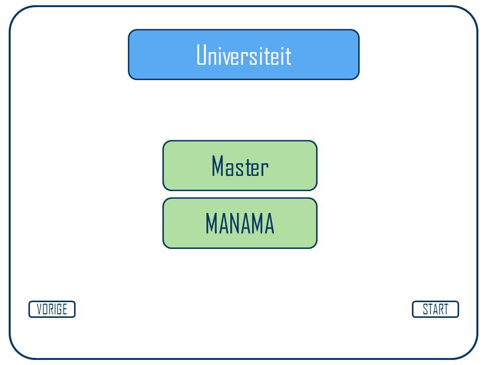 Universiteit Master MANAMA VORIGE START