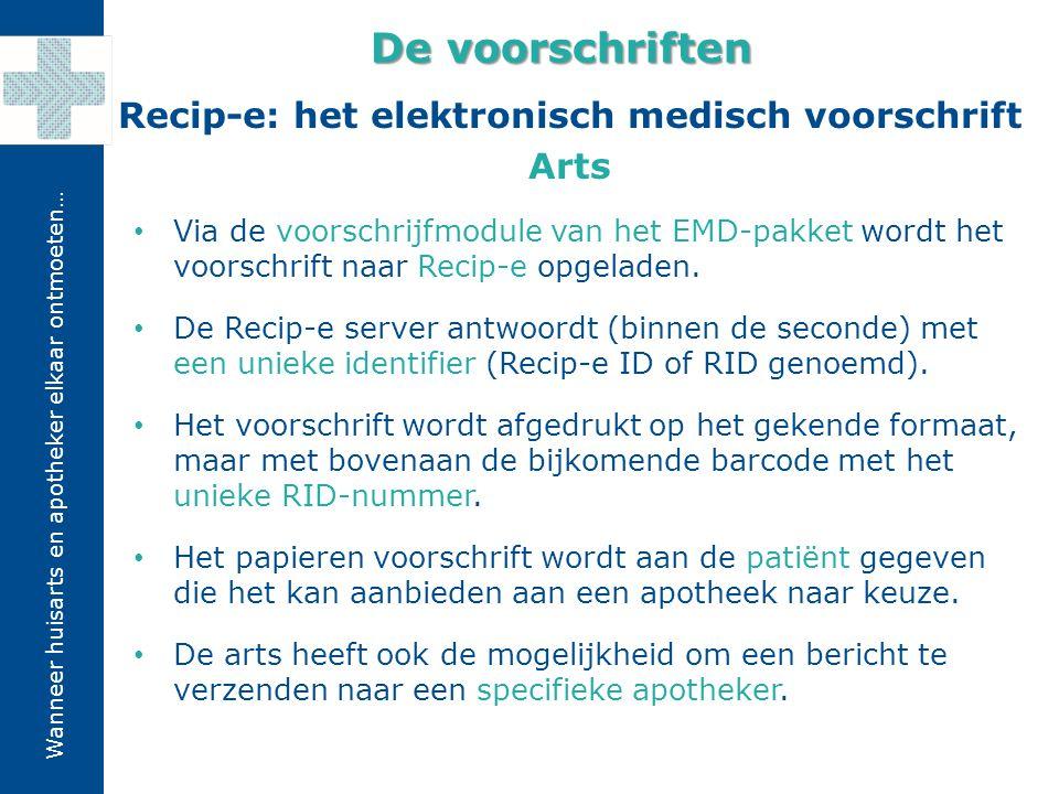 De voorschriften Recip-e: het elektronisch medisch voorschrift Arts