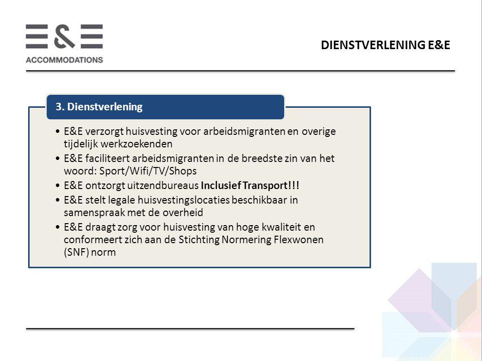 DIENSTVERLENING E&E E&E verzorgt huisvesting voor arbeidsmigranten en overige tijdelijk werkzoekenden.