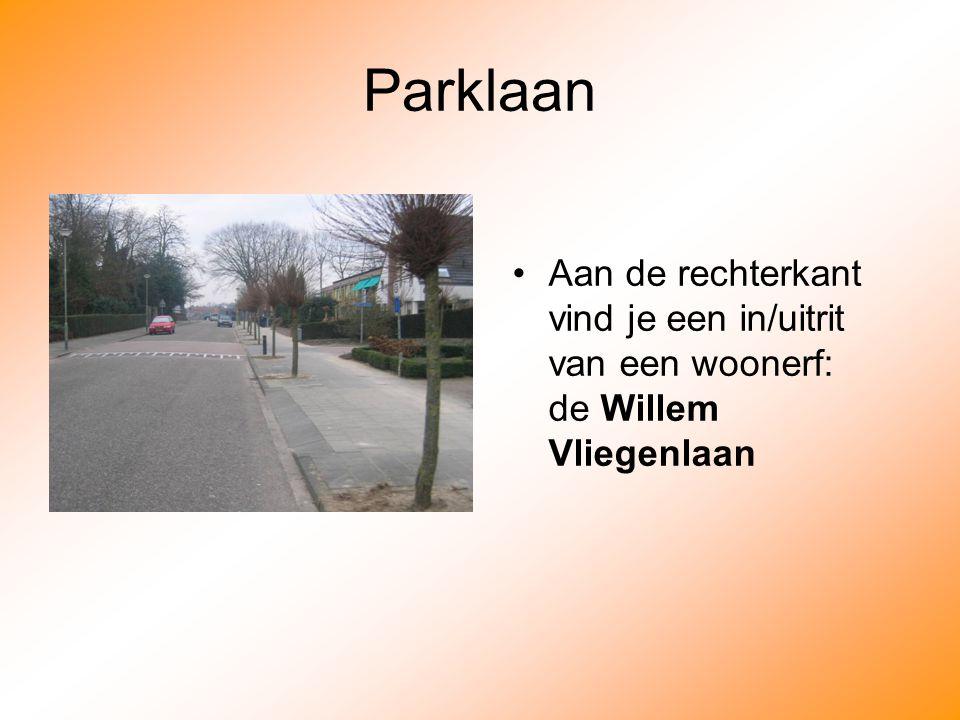 Parklaan Aan de rechterkant vind je een in/uitrit van een woonerf: de Willem Vliegenlaan
