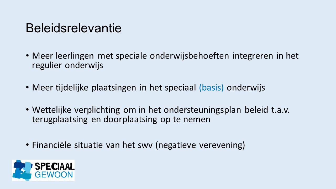 Beleidsrelevantie Meer leerlingen met speciale onderwijsbehoeften integreren in het regulier onderwijs.