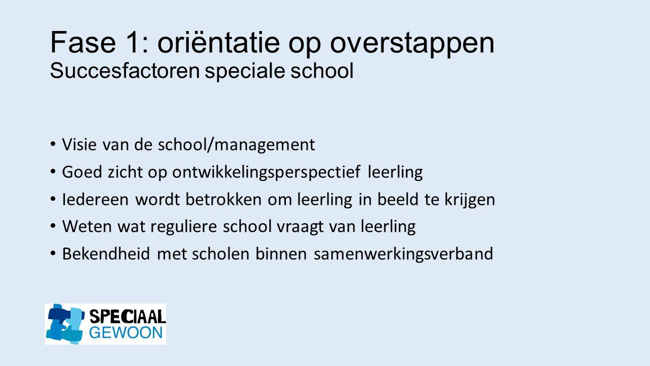 Fase 1: oriëntatie op overstappen Succesfactoren speciale school