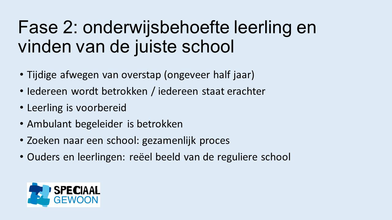 Fase 2: onderwijsbehoefte leerling en vinden van de juiste school