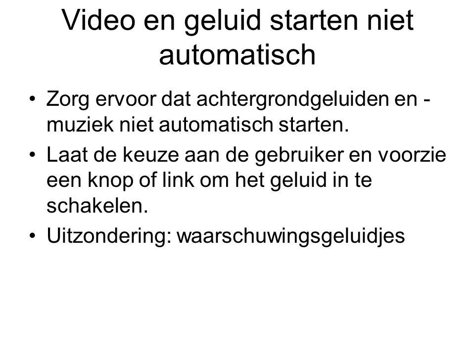 Video en geluid starten niet automatisch