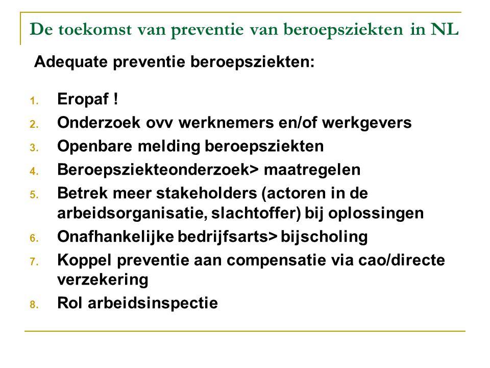 De toekomst van preventie van beroepsziekten in NL