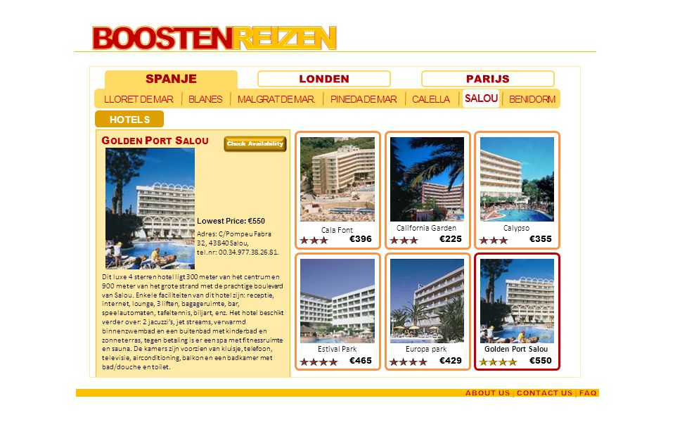 BOOSTENREIZEN - SPANJE LONDEN PARIJS Salou Golden Port Salou