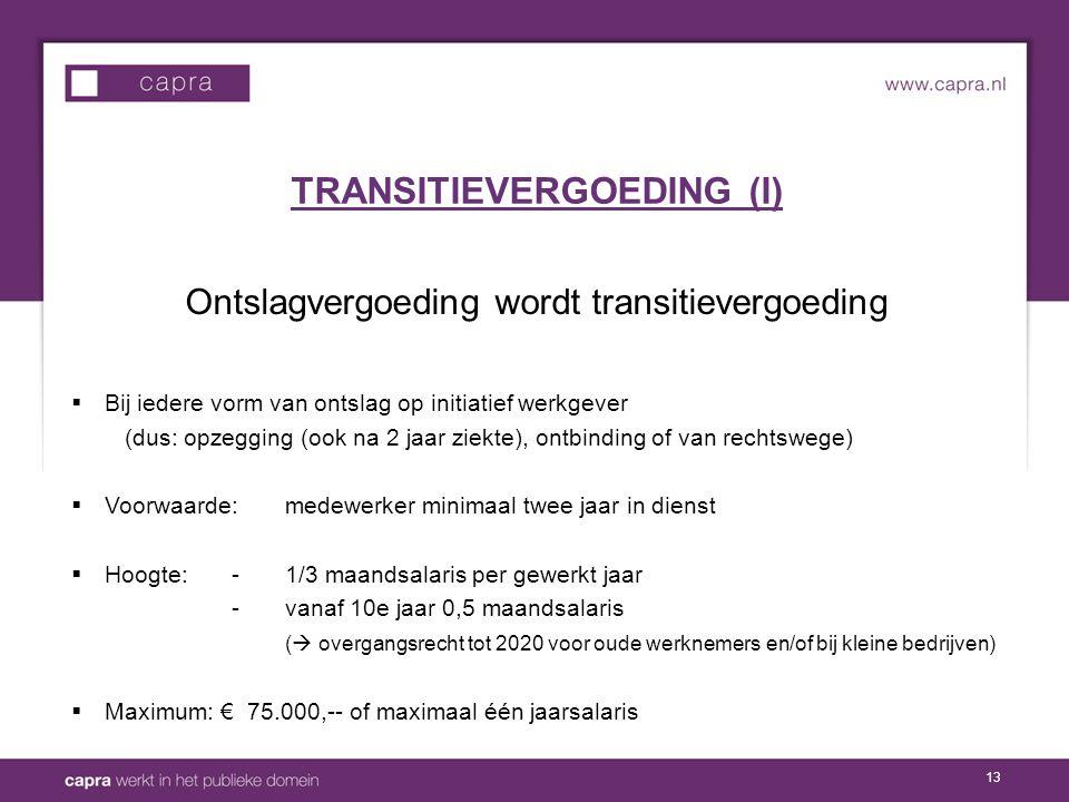 TRANSITIEVERGOEDING (I)