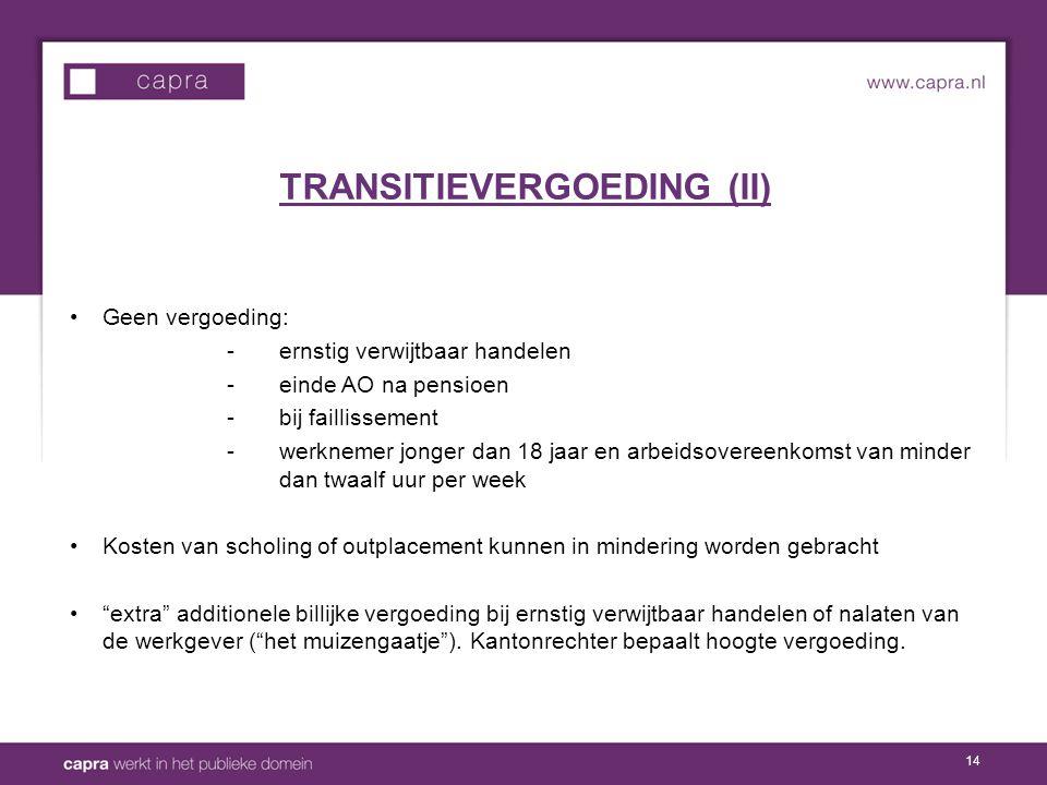 TRANSITIEVERGOEDING (II)