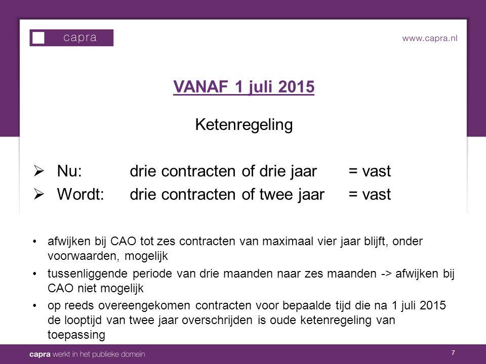 VANAF 1 juli 2015 Ketenregeling