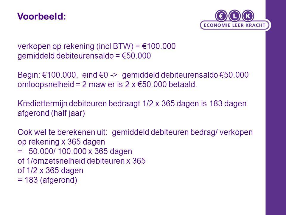 Voorbeeld: verkopen op rekening (incl BTW) = €100.000
