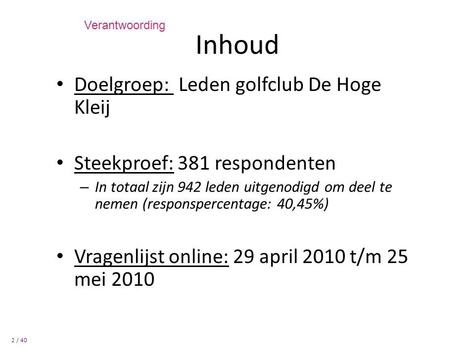 Inhoud Doelgroep: Leden golfclub De Hoge Kleij