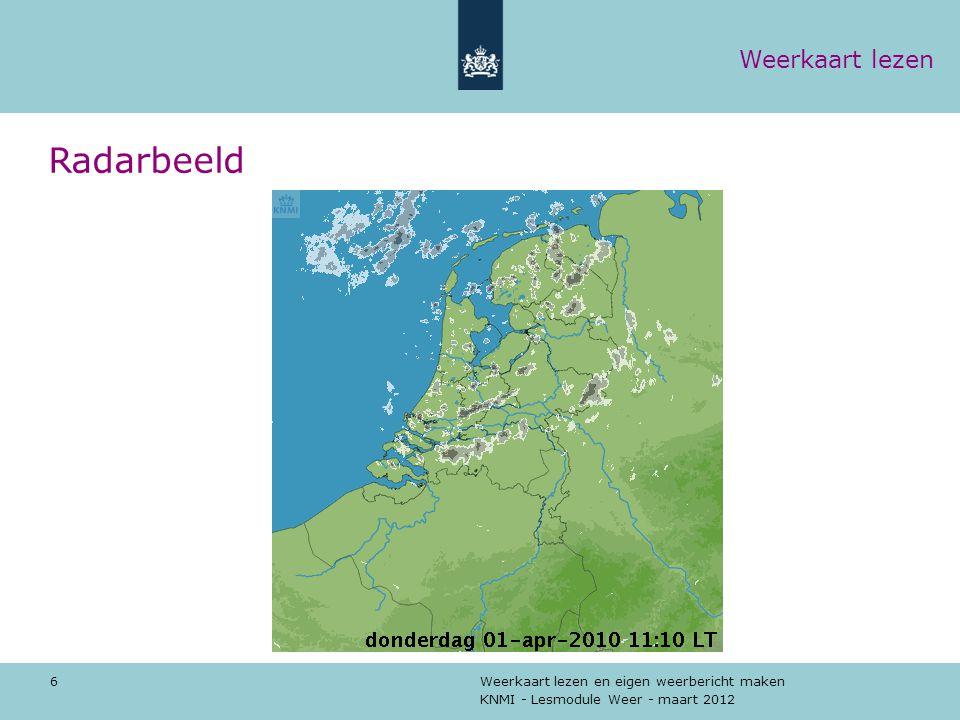 Radarbeeld Weerkaart lezen De neerslagradar.