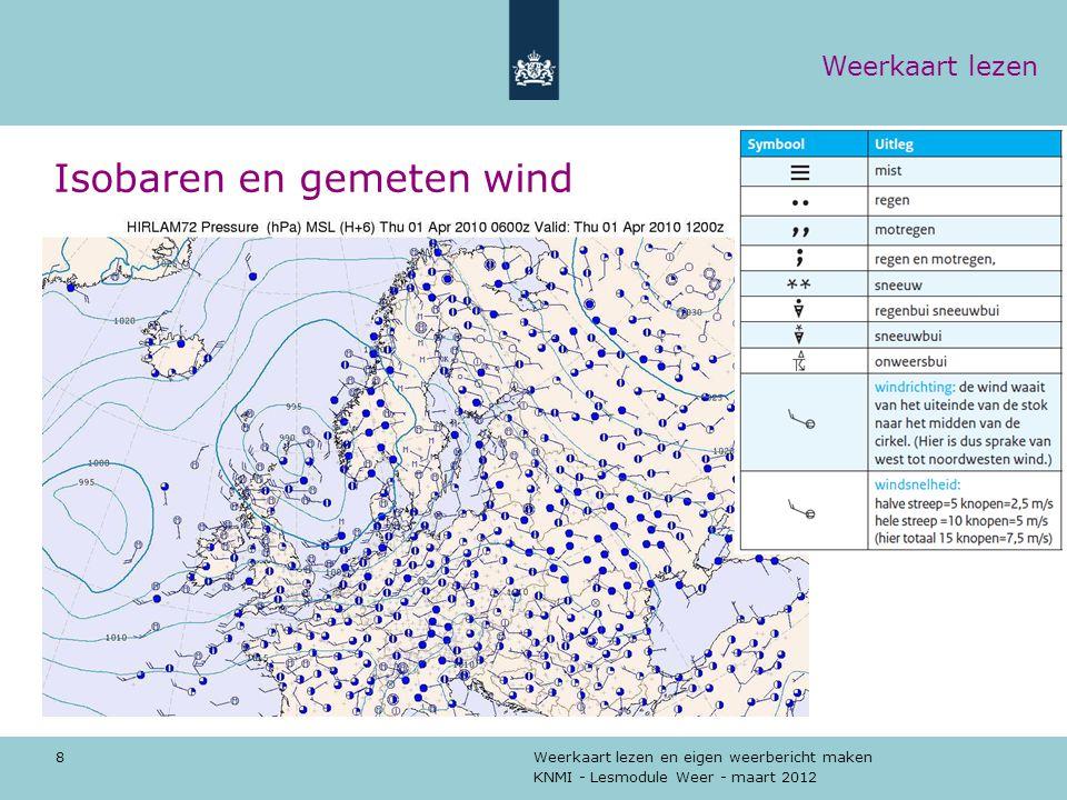 Isobaren en gemeten wind