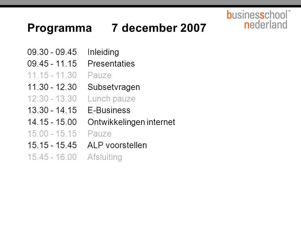 Programma 7 december 2007 09.30 - 09.45 Inleiding
