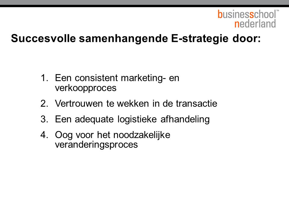 Succesvolle samenhangende E-strategie door: