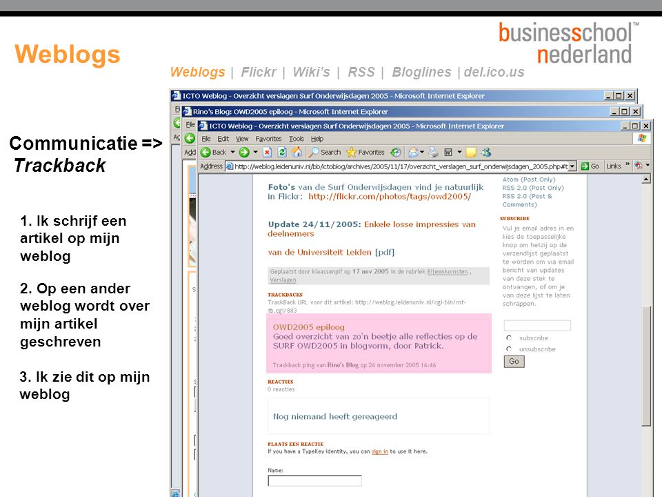 Weblogs Communicatie => Trackback