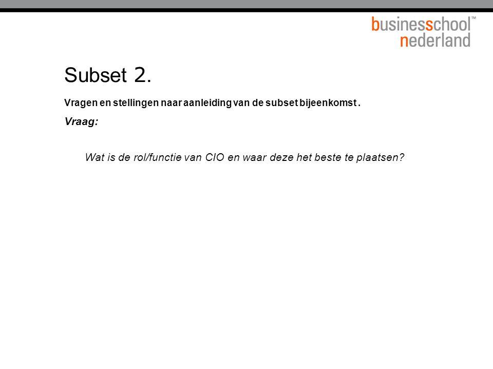 Titel presentatie Subset 2. Vragen en stellingen naar aanleiding van de subset bijeenkomst . Vraag: