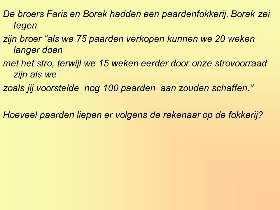 De broers Faris en Borak hadden een paardenfokkerij. Borak zei tegen