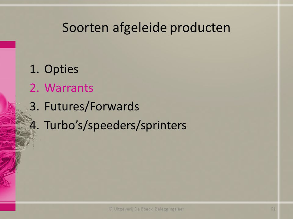 Soorten afgeleide producten