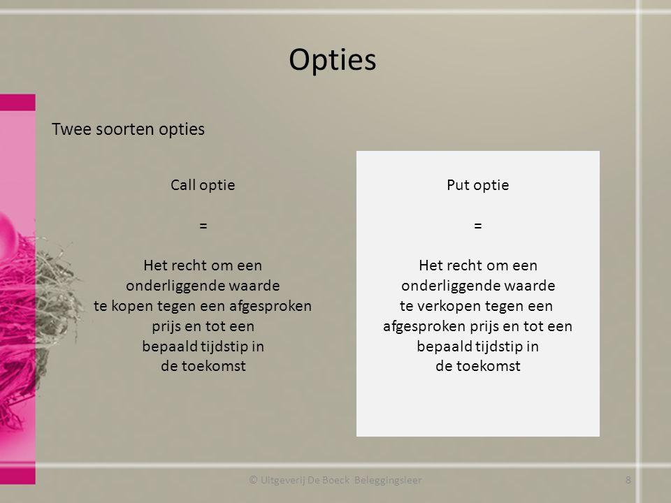 Opties Twee soorten opties Call optie = Het recht om een