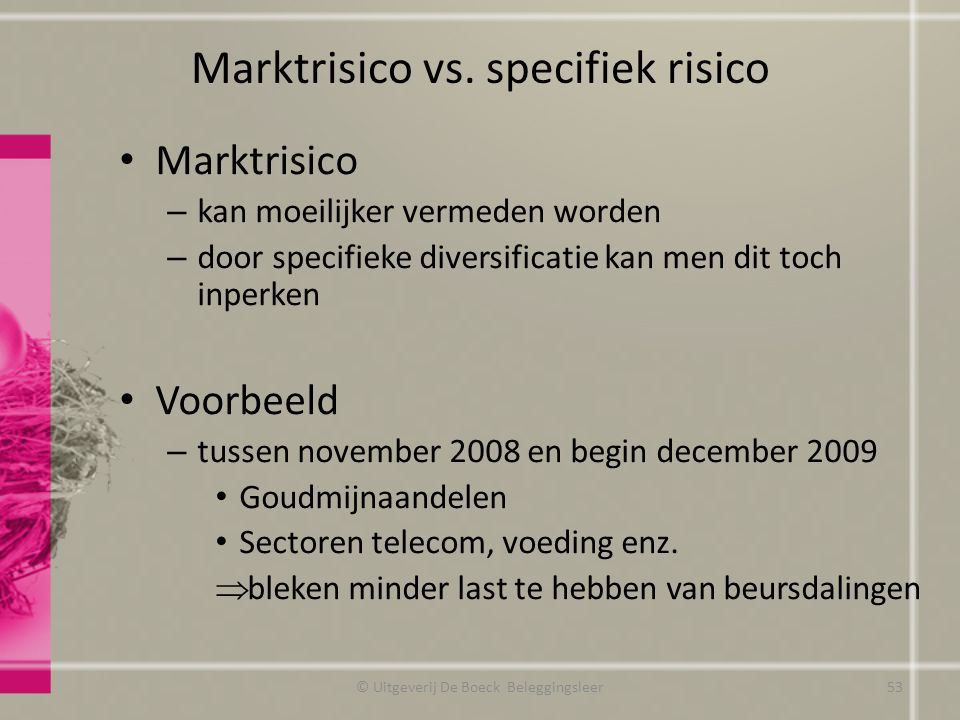 Marktrisico vs. specifiek risico