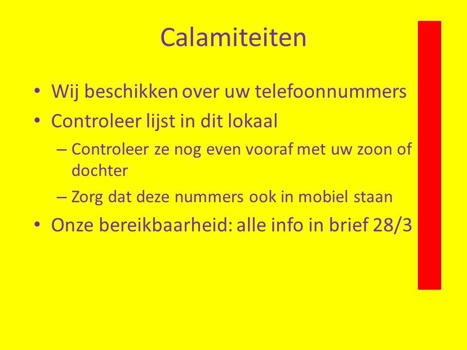 Calamiteiten Wij beschikken over uw telefoonnummers