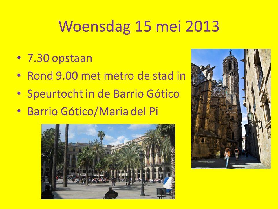Woensdag 15 mei 2013 7.30 opstaan Rond 9.00 met metro de stad in
