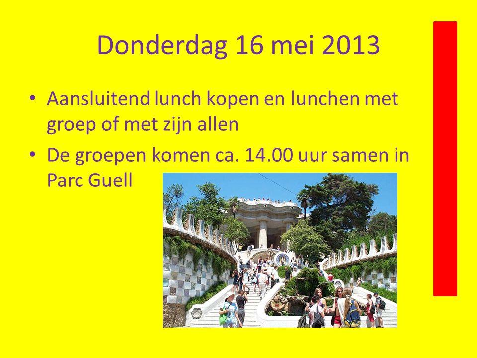 Donderdag 16 mei 2013 Aansluitend lunch kopen en lunchen met groep of met zijn allen.