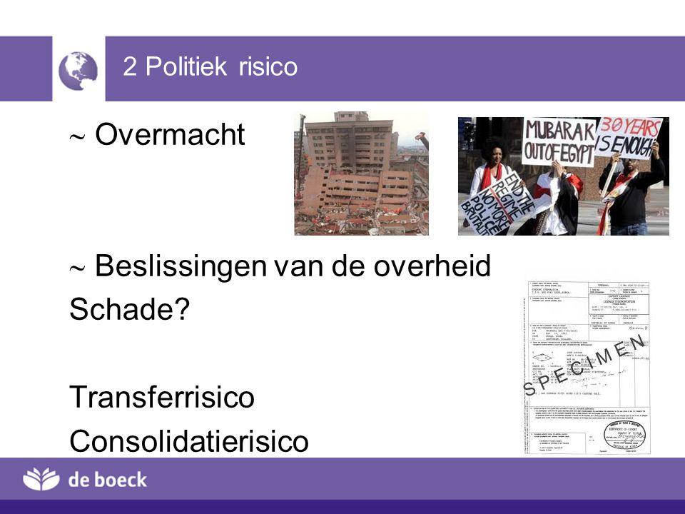 H4 2 Politiek risico.  Overmacht  Beslissingen van de overheid Schade Transferrisico Consolidatierisico