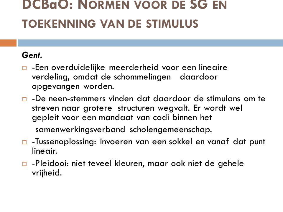 DCBaO: Normen voor de SG en toekenning van de stimulus