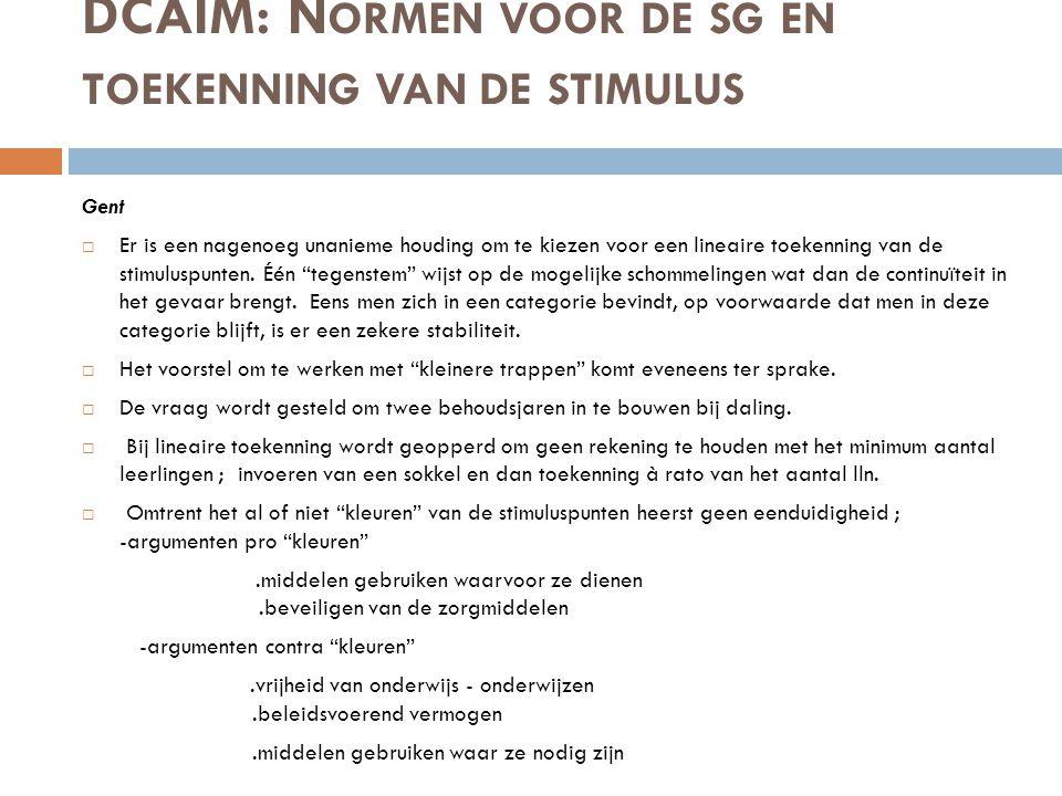 DCAIM: Normen voor de sg en toekenning van de stimulus