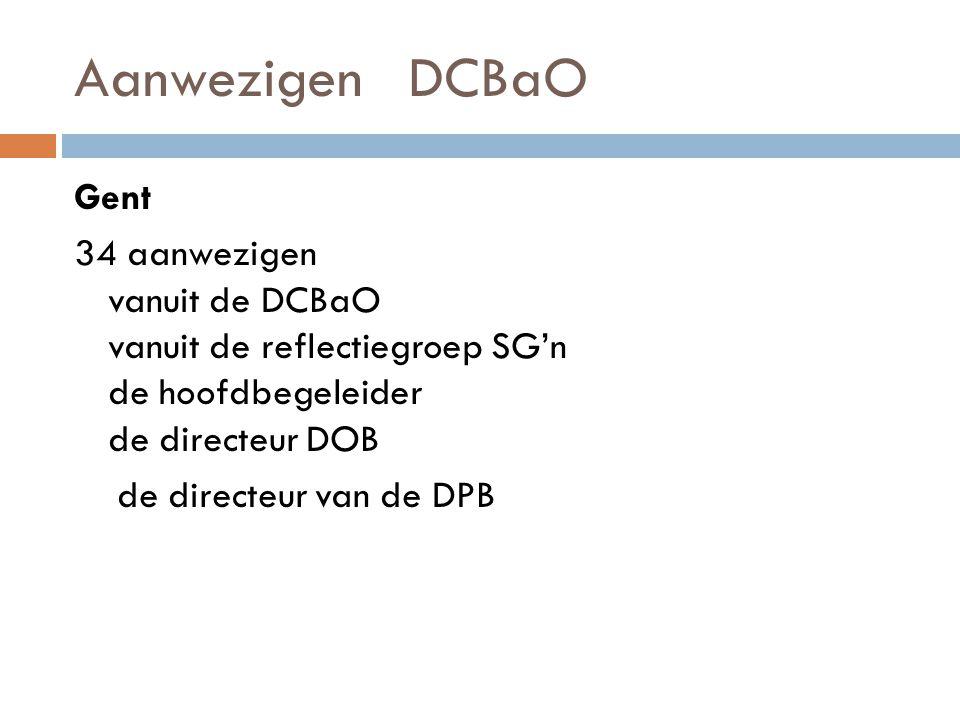 Aanwezigen DCBaO Gent 34 aanwezigen vanuit de DCBaO vanuit de reflectiegroep SG'n de hoofdbegeleider de directeur DOB de directeur van de DPB