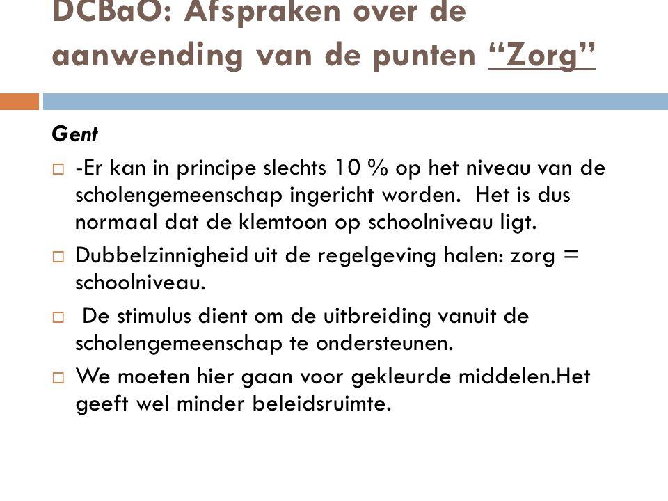 DCBaO: Afspraken over de aanwending van de punten Zorg