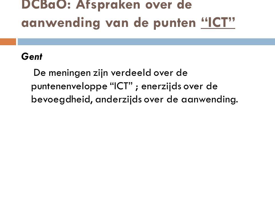 DCBaO: Afspraken over de aanwending van de punten ICT