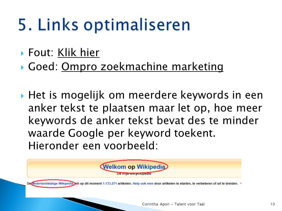 5. Links optimaliseren Fout: Klik hier