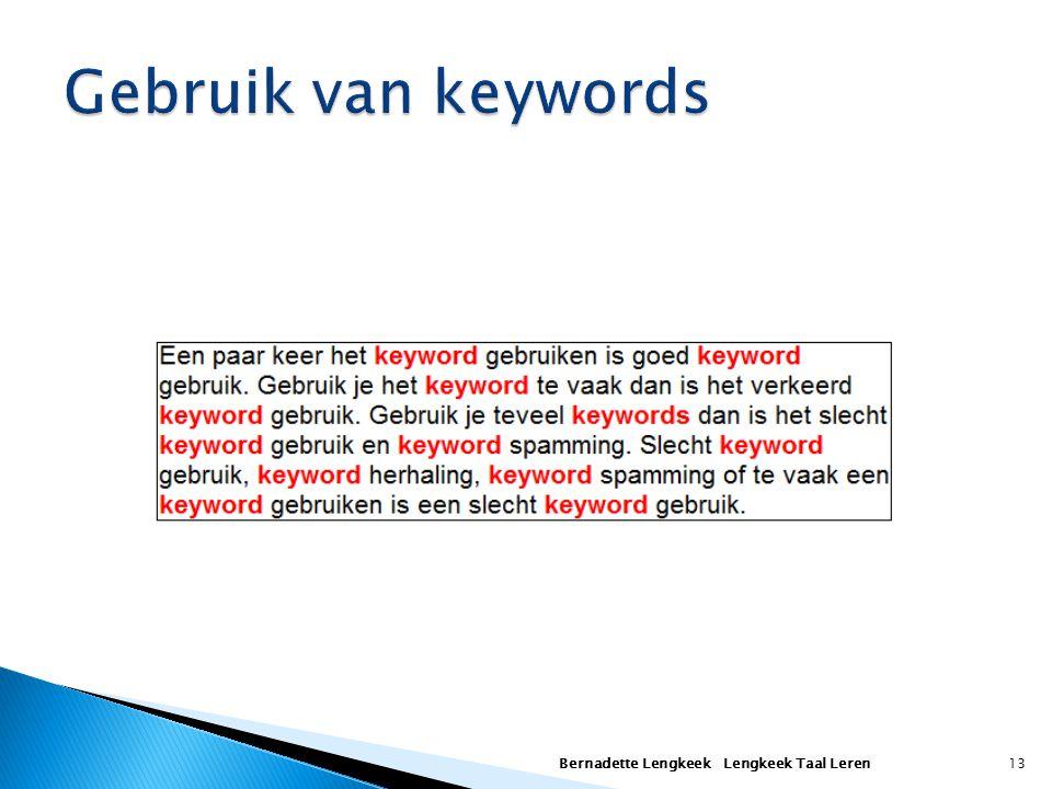 Gebruik van keywords Bernadette Lengkeek Lengkeek Taal Leren