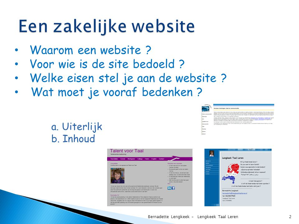 Een zakelijke website Waarom een website