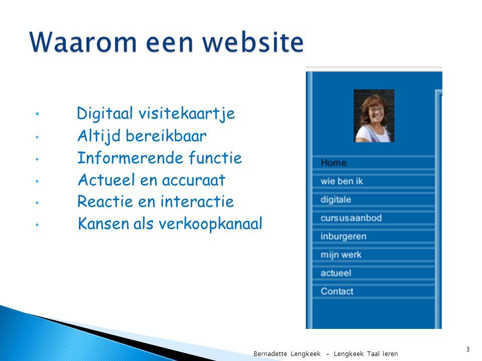 Waarom een website Digitaal visitekaartje Altijd bereikbaar