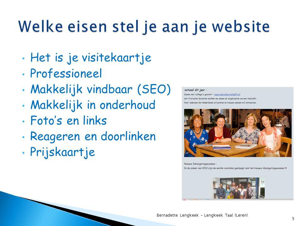 Welke eisen stel je aan je website