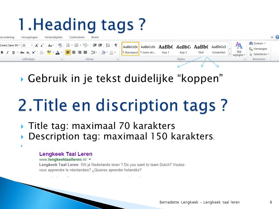 2.Title en discription tags