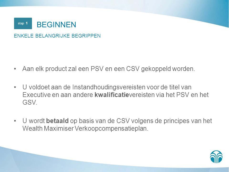 BEGINNEN Aan elk product zal een PSV en een CSV gekoppeld worden.