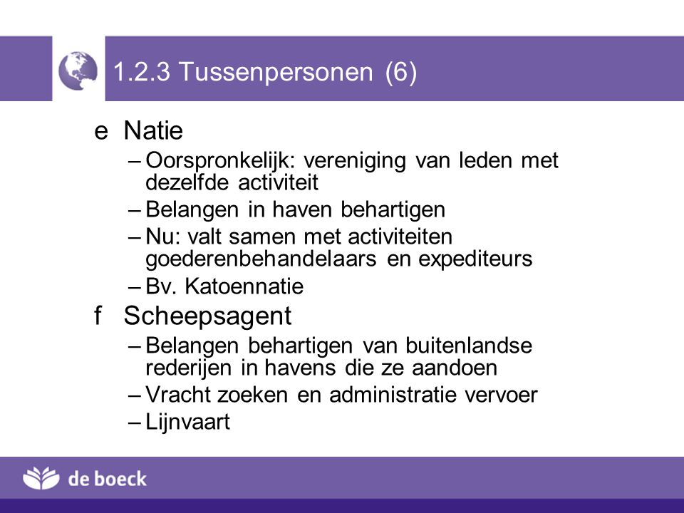 1.2.3 Tussenpersonen (6) e Natie f Scheepsagent