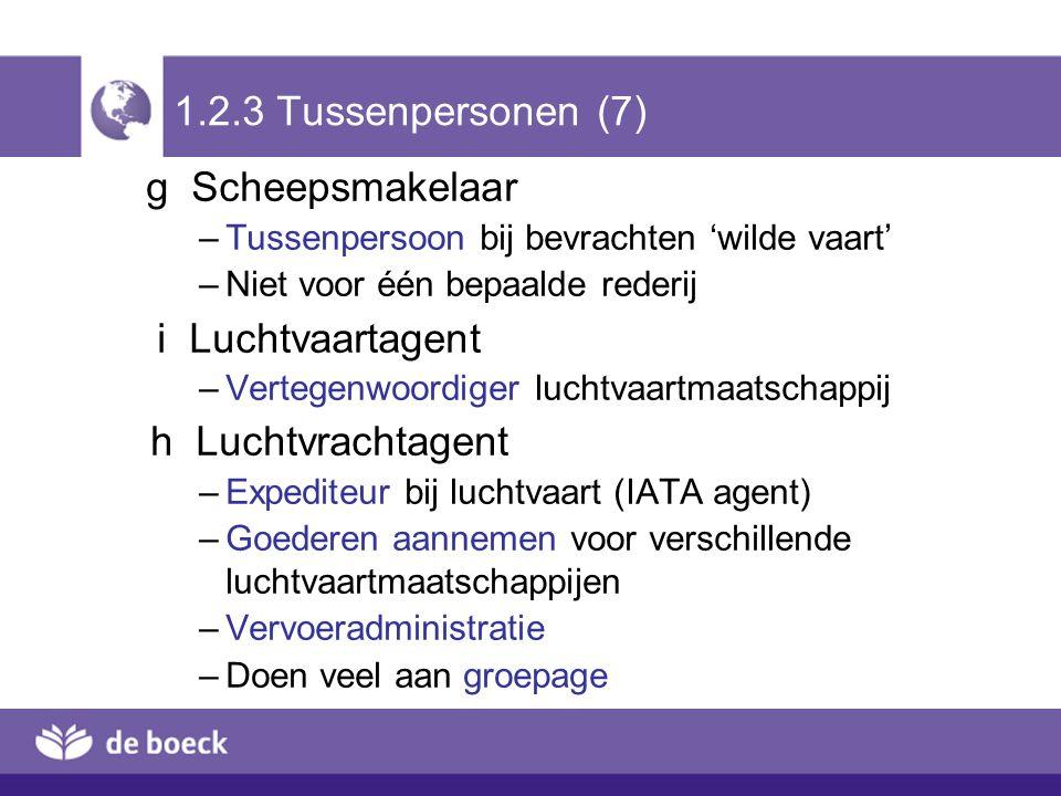 1.2.3 Tussenpersonen (7) g Scheepsmakelaar i Luchtvaartagent
