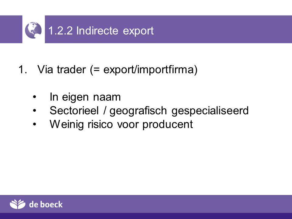 1.2.2 Indirecte export Via trader (= export/importfirma) In eigen naam. Sectorieel / geografisch gespecialiseerd.