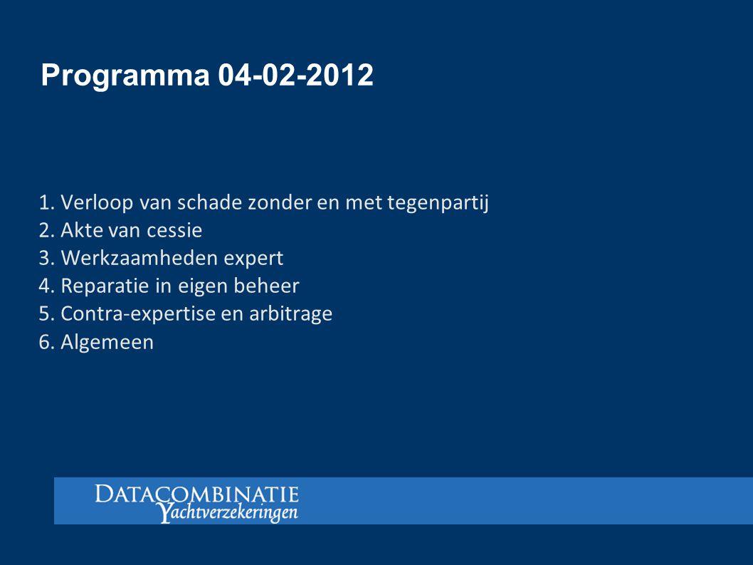 Programma 04-02-2012 1. Verloop van schade zonder en met tegenpartij
