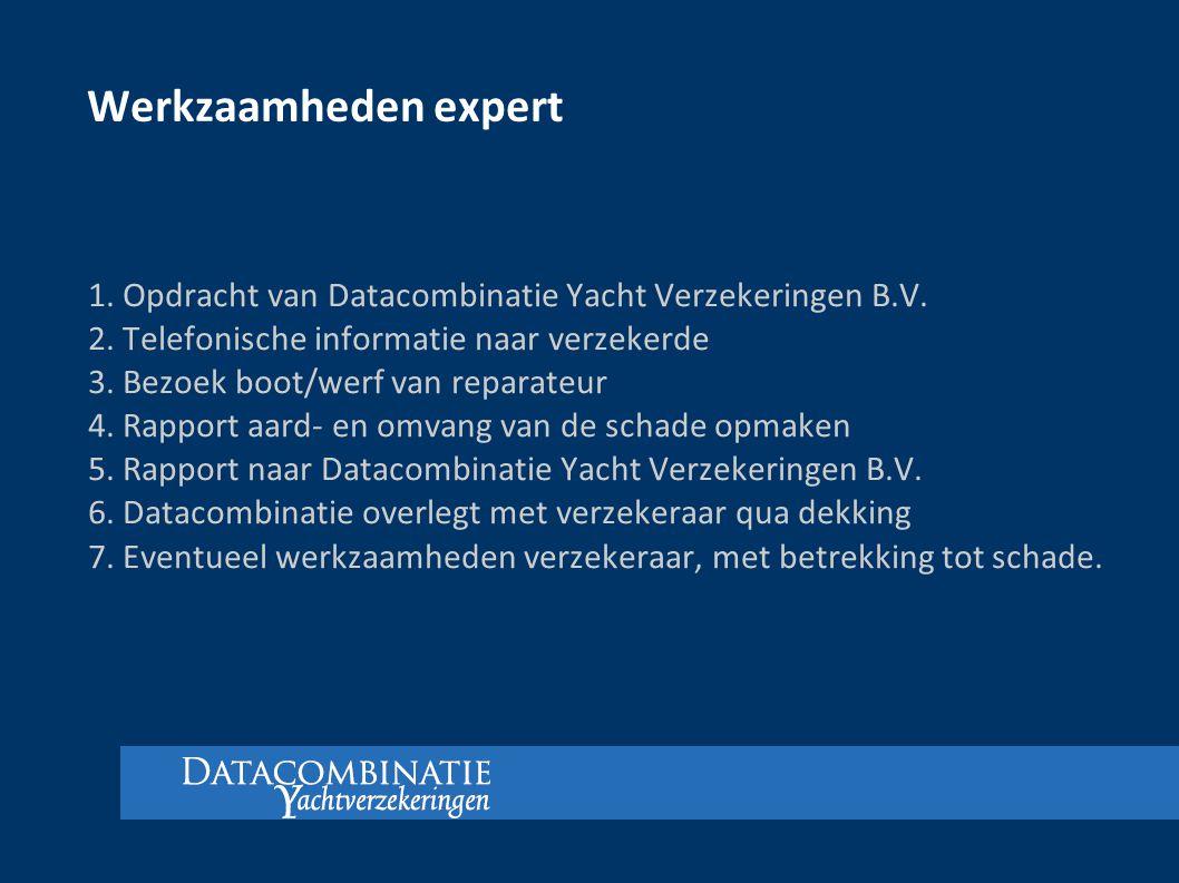 Werkzaamheden expert 1. Opdracht van Datacombinatie Yacht Verzekeringen B.V. 2. Telefonische informatie naar verzekerde.