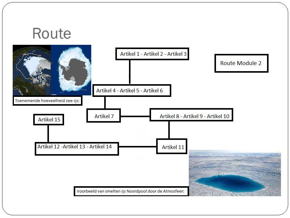 Route 1-2-3 = Breed begin. 4-5-6 = Dieper ingaan op klimaatverandering, start Noordpool. 7 = Warmte in de zee.