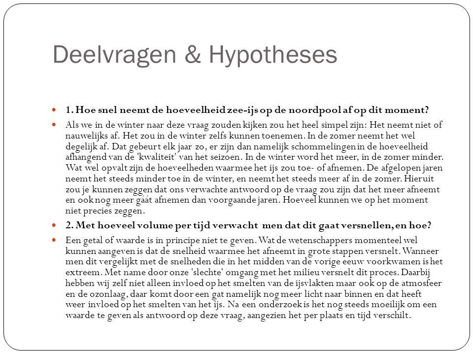 Deelvragen & Hypotheses
