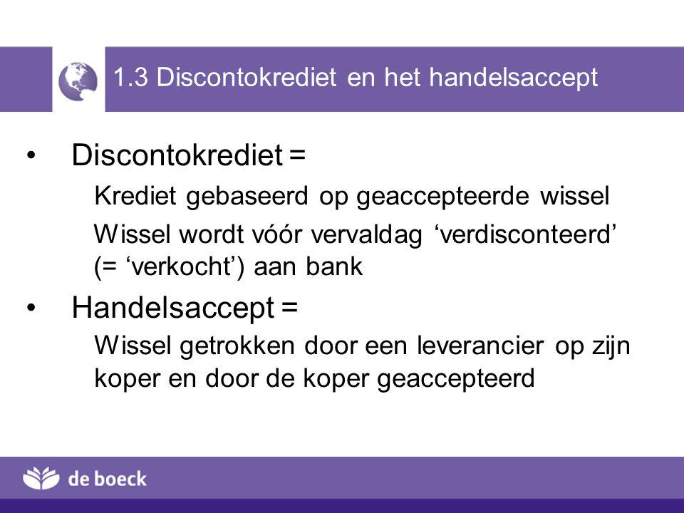1.3 Discontokrediet en het handelsaccept
